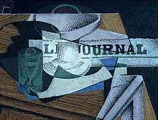 Image: Detail from 'Still life with fruit and newspaper' by Juan Gris