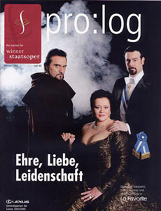 Image: Sabbatini on the cover of pro:log  (Journal of the Vienna Staatsoper) February 2003
